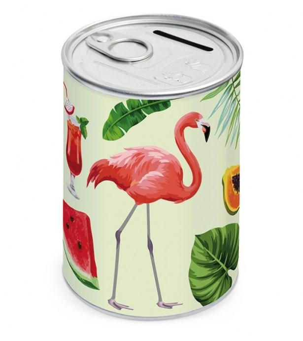 Μεταλλική Κονσέρβα-Κουμπαράς Flamingo Μπομπονιερα Βαπτισης