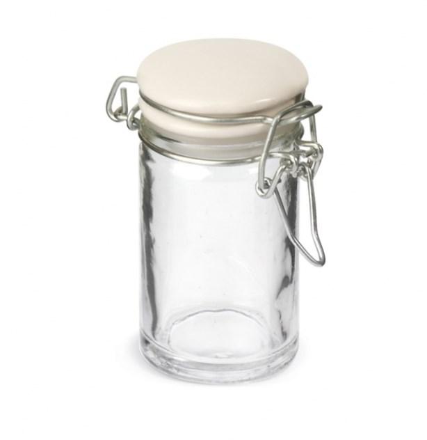 Γυάλινο Βαζάκι Χωρητικότητας 75 Ml Με Πορσελάνινο Καπάκι Ασφαλείας Μπομπονιερα Βαπτισης-Γαμου