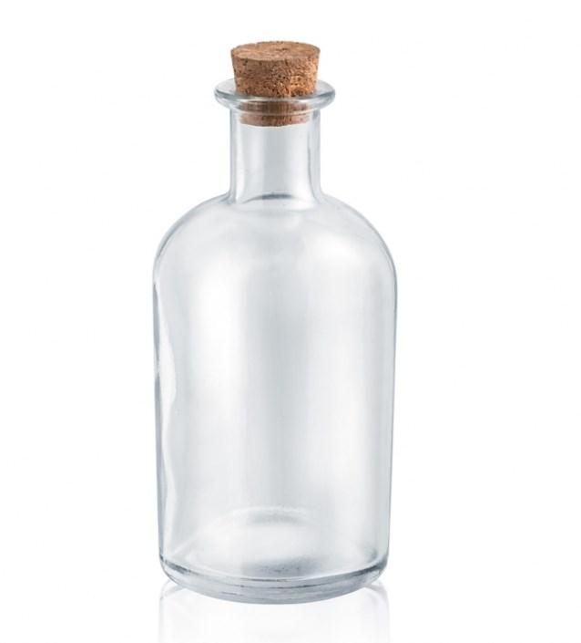 Γυάλινο Διάφανο Στρογγυλό Μπουκάλι 6x13.5 Cm Με Κούμπωμα Από Φελλό Και Χωρητικότητα 200 Ml Μπομπονιερα Υλικα