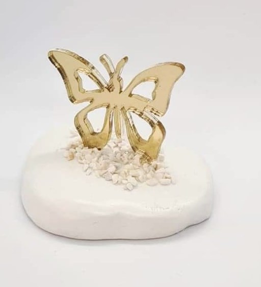 Μπομπονιέρα Πετρα-Plexi Glass Πεταλούδα Οικονομική Τιμή
