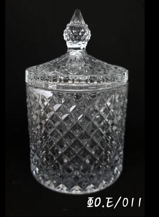 Κυλινδρική γυάλινη φοντανιέρα με καπάκι Ύψος 14,3 x διάμετρος 8,5 cm